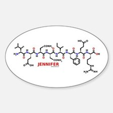 Jennifer name molecule Oval Decal