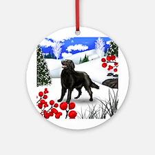 FLAT COATED RETRIEVER DOG WINTER Ornament (Round)