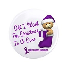 """Bear In Stocking 1 (Cystic Fibrosis) 3.5"""" Button"""