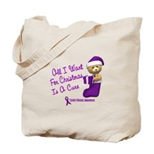 Bear In Stocking 1 (Cystic Fibrosis) Tote Bag