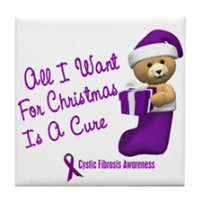 Bear In Stocking 1 (Cystic Fibrosis) Tile Coaster