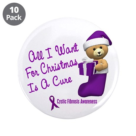 "Bear In Stocking 1 (Cystic Fibrosis) 3.5"" Button ("