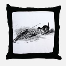 Cat with Lobster Throw Pillow