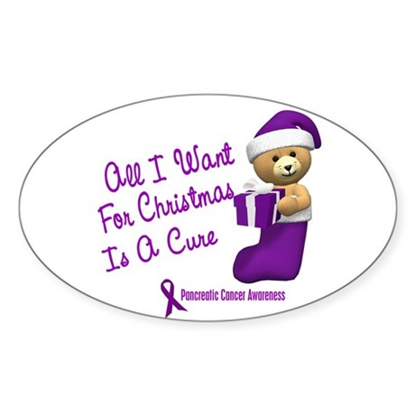 Bear In Stocking 1 (Pancreatic Cancer) Sticker (Ov