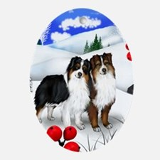 AUSTRALIAN SHEPHERD DOGS WINTER Oval Ornament