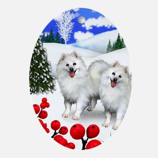 AMERICAN ESKIMO DOGS WINTER BERRY Oval Ornament