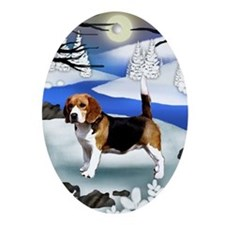 BEAGLE DOG FROZEN RIVER Oval Ornament