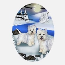 WESTIE DOGS FROZEN RIVER Oval Ornament