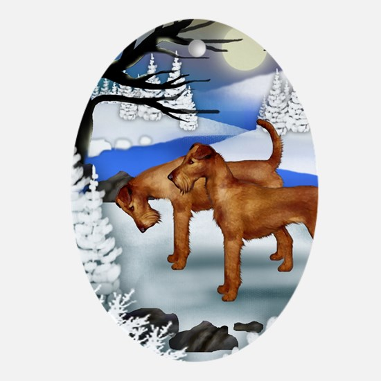 IRISH TERRIER DOGS FROZEN RIVER Ornament (Oval)