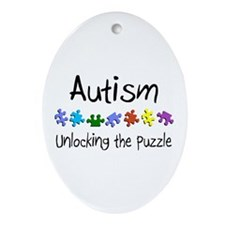Autism (Unlocking The Puzzle) Oval Ornament