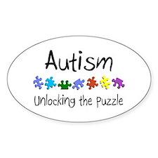 Autism (Unlocking The Puzzle) Oval Sticker (10 pk)