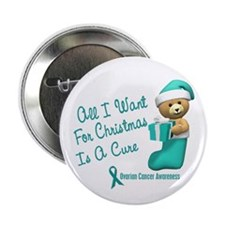 """Bear In Stocking 1 (Cervical Cancer) 2.25"""" Button"""