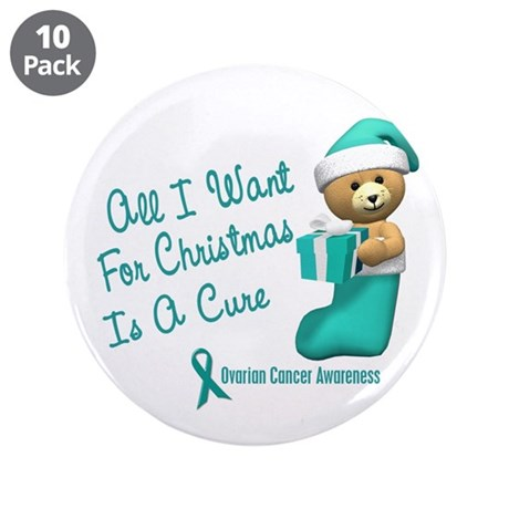 """Bear In Stocking 1 (Cervical Cancer) 3.5"""" Button ("""