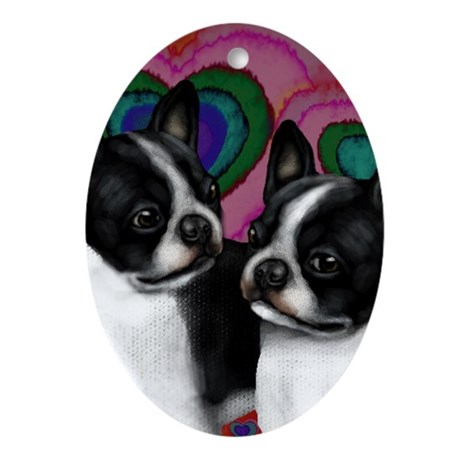 BOSTON TERRIER DOGS LOVE HEARTS Oval Ornament