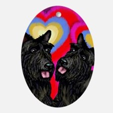 SCOTTISH TERRIER DOGS LOVE HEARTS Oval Ornament