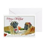 Mastiff Pair Christmas Car Greeting Cards (Pk o