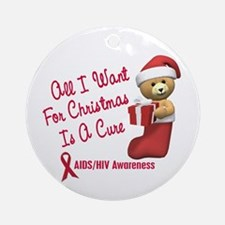 Bear In Stocking 1 (AIDS HIV) Ornament (Round)