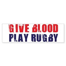 Give Blood, Play Rugby Bumper Car Sticker