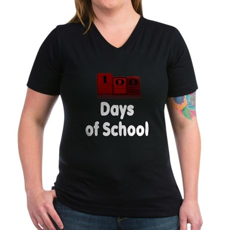 100 Days of School (Dark Shir Women's V-Neck Dark