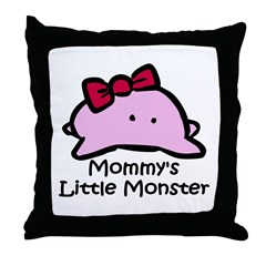 Mommy's Little Pink Monster Throw Pillow