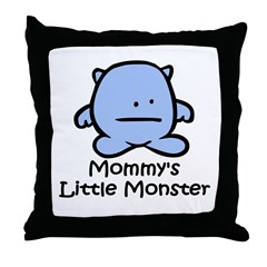 Mommy's Little Blue Monster Throw Pillow