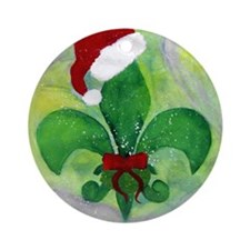 Christmas Fleur de lis Santa Ornament (Round)