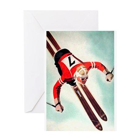 Retro Ski Skier Skiing Greeting Card