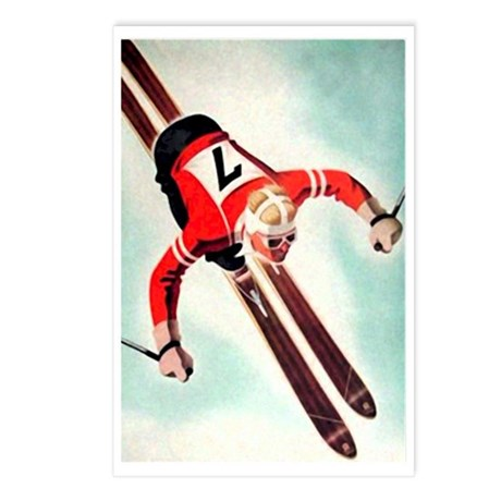 Retro Ski Skier Skiing Postcards (Package of 8)