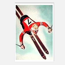 Retro Ski Skier Skiing Postcards (Package of 8)