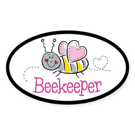 Cute Beekeeper Oval Sticker