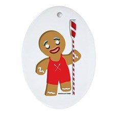 Gingerbread man rowing Oval Ornament
