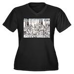 Lovers Women's Plus Size V-Neck Dark T-Shirt