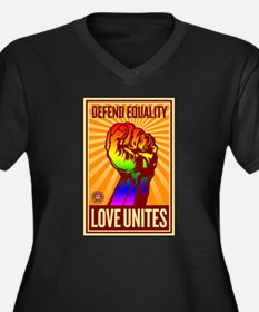 Defend Equality Women's Plus Size V-Neck Dark T-Sh