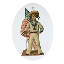 Sailor Boy Christmas Oval Ornament