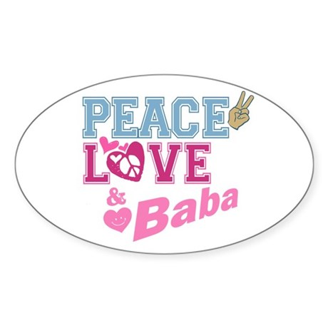Peace Love and Baba Oval Sticker