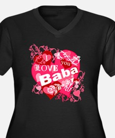 I Love You Baba Women's Plus Size V-Neck Dark T-Sh