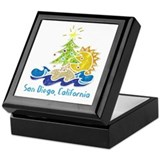 San diego mission beach Square Keepsake Boxes