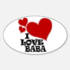 I Love Baba Oval Decal