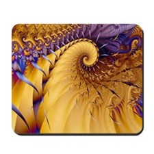 """Blue Gold"" Fractal Art Mousepad"