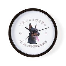 Happiness is a Doberman! Wall Clock