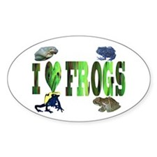 heart frogs Oval Decal