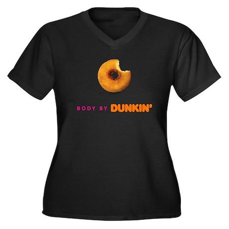 Body by Dunkin Women's Plus Size V-Neck Dark T-Shi