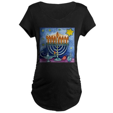 Menorah Cartoon Maternity Dark T-Shirt