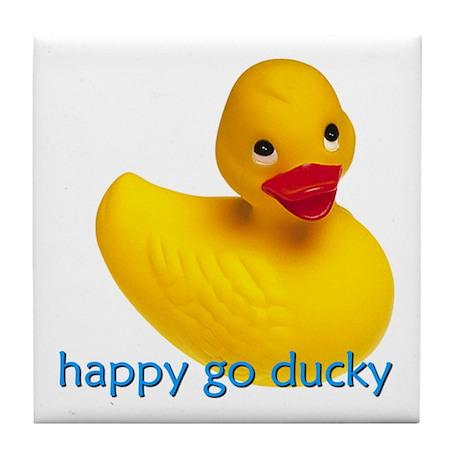 HAPPY GO DUCKY Tile Coaster