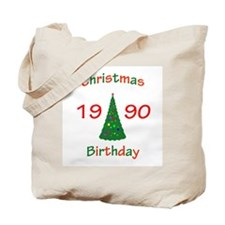 1990 Christmas Birthday Tote Bag