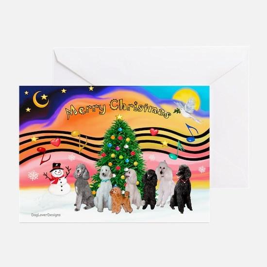 XmasMusic2 / 7 Poodles Greeting Cards (Pk of 10)