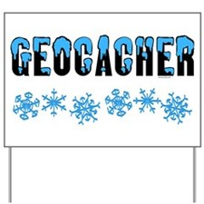 Snow Capped Geocacher Yard Sign