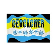 Snow Capped Geocacher Rectangle Magnet