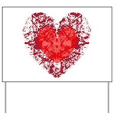Red Grunge Heart Yard Sign