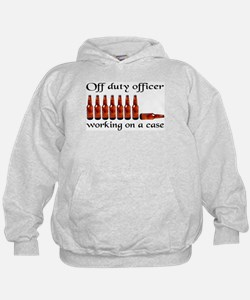 Off duty officer working on a Hoodie